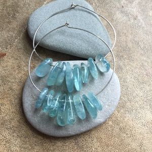 Sterling Silver Wire Apatite Hoops